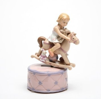 Cosmos 80051 Fine Porcelain Girl on Rocking Horse Musical Figurine, 7-1/8-Inch
