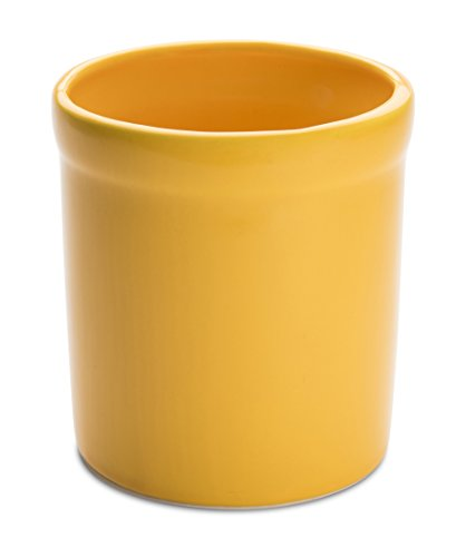 American Mug Pottery Ceramic Utensil Crock Utensil Holder, Made in USA, Yellow
