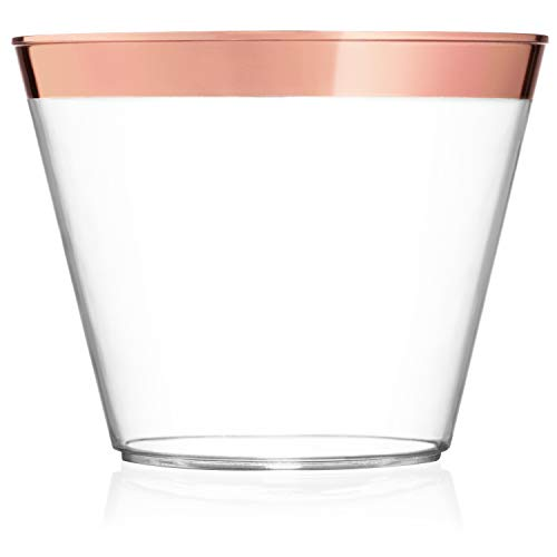 9 oz Rose Gold Plastic Cups - Pack Of 100 Clear Party Tumblers With Elegant Rose Gold Rim - Reusable & Disposable Party Supplies For Wedding, Birthday & Bachelorette Party, Baby Shower or Any Occasion (Best Wine With Shrimp And Grits)