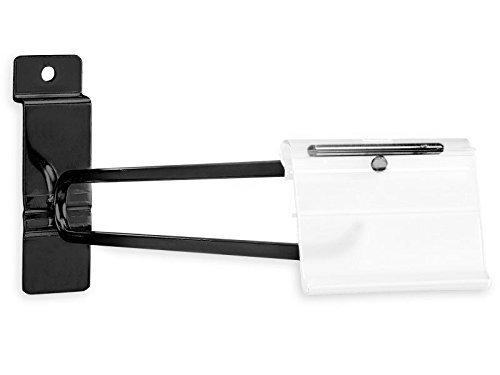 10'' Black Slatwall Scanner Hooks w/ Label Holders (Box of 100) by Only Garment Racks