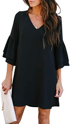 BELONGSCI Womens Dress V Neck Sleeve product image