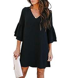 V-Neck Bell Sleeve Short Dress