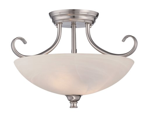 Designers Fountain 85111-SP Kendall Semi-Flushmount, Satin - Flush Platinum Lamp Semi Ceiling