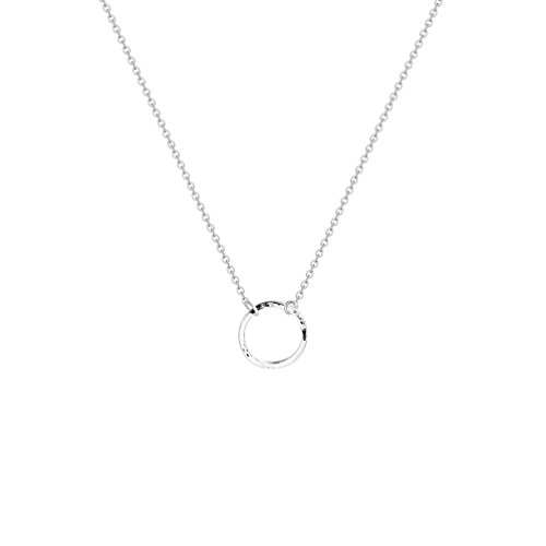 Fettero Silver Plated Hammered Necklace for Women Dainty Handmade Carved New Moon Phase Pendant Round Circle Chain Minimalist Jewelry