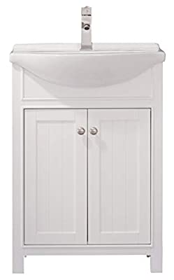 "Luca Kitchen & Bath Carson 24"" Bathroom Vanity Set Made with Hardwood and Integrated Porcelain Top"