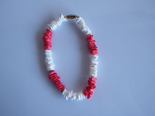 Handmade Red and White Puka Shell Anklet 9""