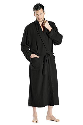 Cashmere Boutique: 100% Pure Cashmere Full Length Robe for Men (Color: Black, Size: Small/Medium)
