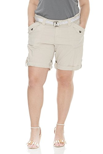 Suko Plus Size Women Cargo Shorts Adjustable Capri 47050 STONE 16 PLUS SIZE