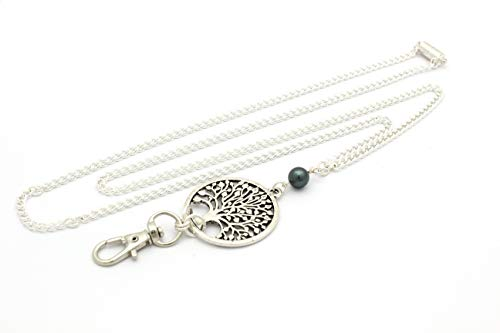 Women's Fashion Lanyard Necklace for ID Badge Holders 32 Inch w/Tree of Life and Teal Pearl and Rear Magnetic Break Away Clasp