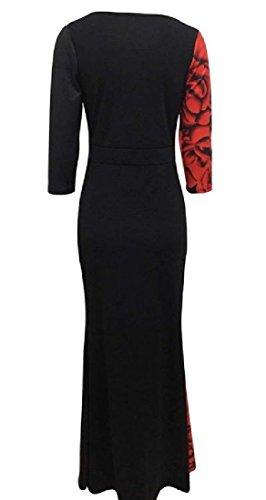 Sleeve Beach 3 Digital Neck Red Dress Comfy Scoop 4 Print Women Maxi w4Wq6a