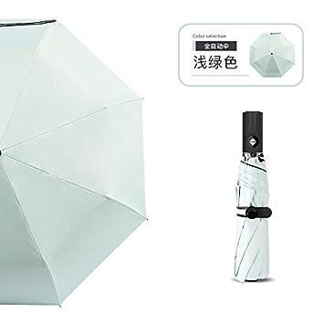 QKWLI Paraguas automático, Hembra Folding Lluvia Paraguas, Paraguas de Sol, Negro Pegamento sombrilla