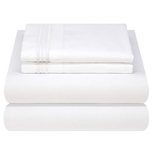 - Mezzati Luxury Bed Sheet Set - Soft and Comfortable 1800 Prestige Collection - Brushed Microfiber Bedding (White, Queen Size)