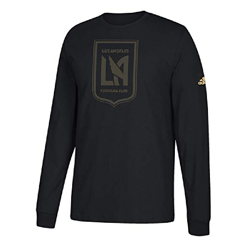 adidas Los Angeles Football Club LAFC Men's Logo Black Long Sleeve T-Shirt (Large)