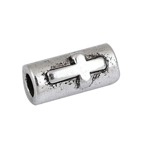 """PEPPERLONELY 50pc Antiqued Silver Alloy Cylinder Cross Charms Pendants 11mm x6mm(3/8"""" x 2/8"""")"""