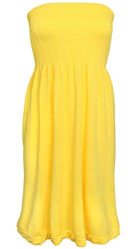 KMystic Women's Summer Tube Top Mini Dress (Yellow) (Top Tube Summer)