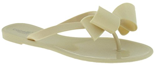 Capelli New York Ladies Floral Pom Opaque Jelly Flip Flops Nude jMz6545