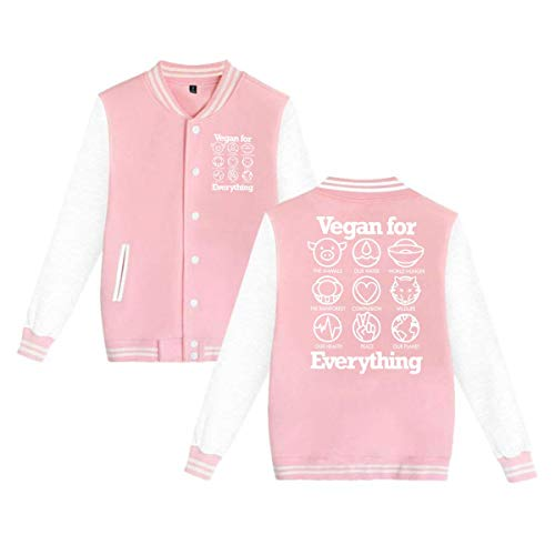 Vegan For Everything Men's Lady's Varsity Baseball Jacket Button Down Lightweight Sweater Sweatshirt XXS-4XL ()