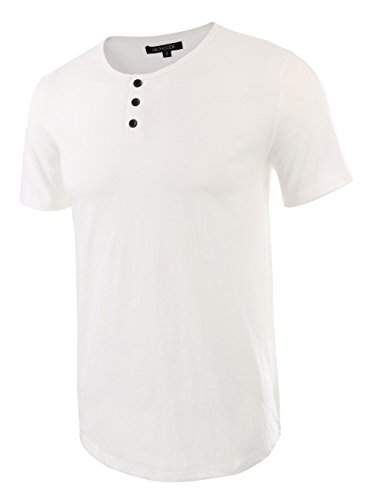 - HETHCODE Men's Classic Comfort Soft Regular Fit Short Sleeve Henley T-Shirt Tee White XXL