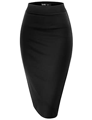 TWINTH Pencil Skirts Plus Size Casual Skirt Elastic Waist Band Scuba Streychy Solid Color