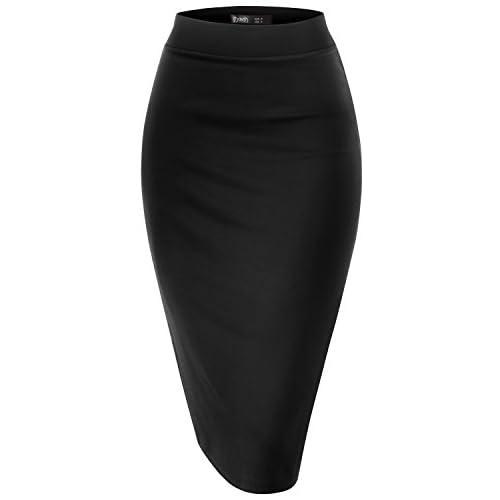 CLOVERY Women's Casual Elastic High Waist Band Fabric Ofiice Pencil Skirt 31u4AlBiMmL  Home Page 31u4AlBiMmL