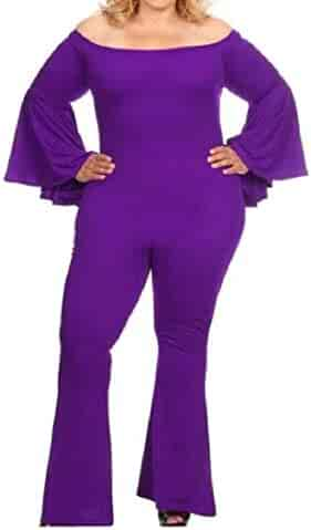 701d468ba6 Mfasica Women s Strapless Rompers Vogue Long Sleeve Flare Bottom Pants