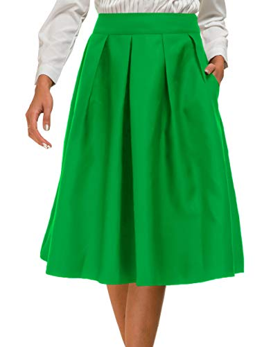 Womens Pleated High Waist Skater Flared Midi Skirt with Pocket Light Green M