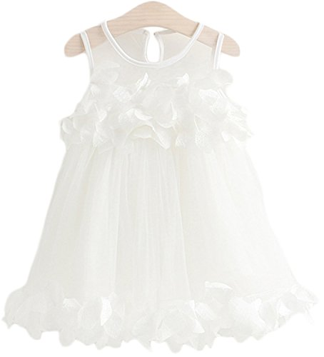 Girls Dress Summer Mesh Girls Clothes Pink Applique Princess Dress Children Summer Clothes white 6