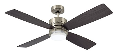 Emerson Ceiling Fans CF430BS Highrise Modern Ceiling Fan With Light And Wall Control, 50-Inch Blades, Brushed Steel Finish