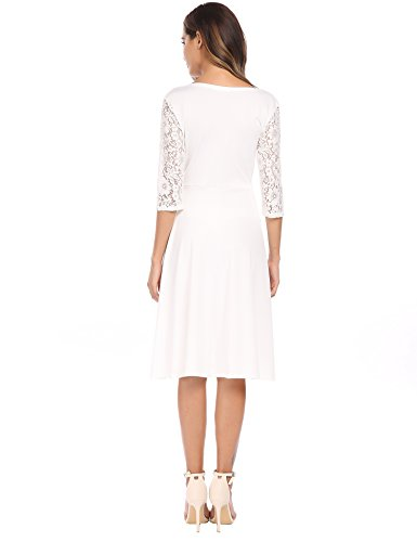 ACEVOG Sleeve Dress Wrap Neck Vintage Cocktail V Swing Pleated Lace 4 Women's Party White A 3 line 0qr0Zxgn