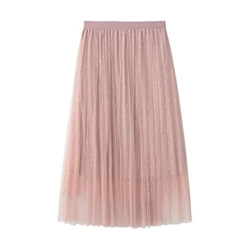 Women Mesh Skirt Summer Polka Dot Elastic Waist Layered Beading A Line Tulle Midi Skirt (Free, Pink)