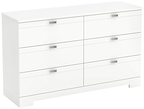 South Shore Reevo 6-Drawer Double Dresser, Pure