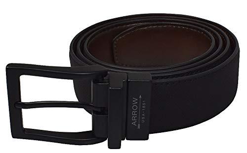 Arrow- 35mm Diagonal Texture Feather Edge Reversible Belt Black/Brown w/Matte Black Buckle Size 32