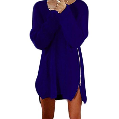 Clair Lache Femmes Casual Bleu Cou Longue de Robe Zip Pullover Pulls Ronde Longues Manches Automne aw1F8qa
