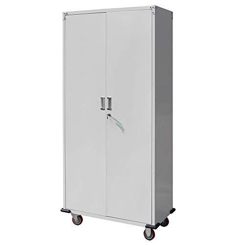 "Stainless Steel Tall Kitchen Cabinet: Bonnlo 70"" Tall Rolling Garage Storage Cabinet With Door"