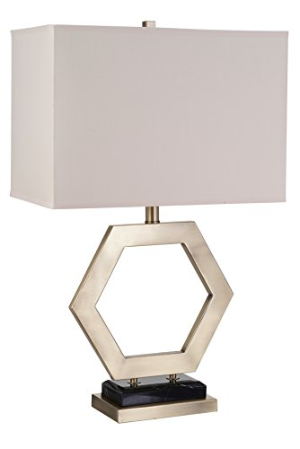 Catalina Lighting 20720-000 Modern Metal Hexagon Table Lamp with Cream Linen Shade and 3-Way Rotary Switch, Gold