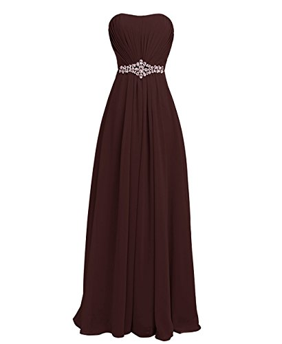 Women's Long Chiffon Strapless Prom Bridesmaid Dresses Pleated Evening Gowns Chocolate US2