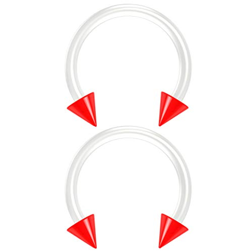 2pc 16g Flexible Bioflex Circular Barbell Horseshoe Septum Ring Bioplast Piercing 10mm Spike Red