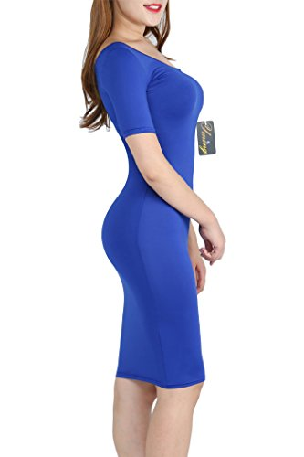 01 Evening Sexy Blue Side s Shoulder YMING Bandage Dress Women Bodycon Tw0SCx4fzq