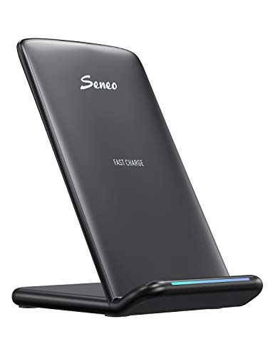 Seneo Fast Wireless Charger, Qi-Certified Wireless Charging Stand, 10W for Samsung Galaxy S10 S9 S8 S8 Plus S7 Note 10/9/8, 7.5W Fast for iPhone 11/11 Pro Max/Xs/XS Max/XR/X/8/8P【No AC Adapter】