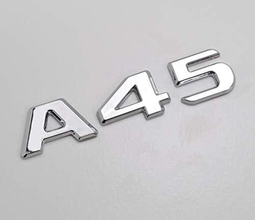 Chrome argent/é A45 Embl/ème dinsigne de lettres de chiffres de mod/èle de voiture de benz plat pour A Class Benz W176 W177 AMG