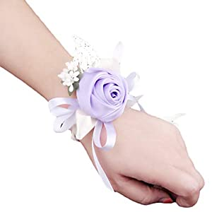 Creaon Wedding Wrist Flower Wrist Corsage Women Bride Bridesmaid Wrist Flower Floral Hand Flower Exquisite Wedding Ribbon Flower Artificial Rose Flowers for Wedding Decoration 29