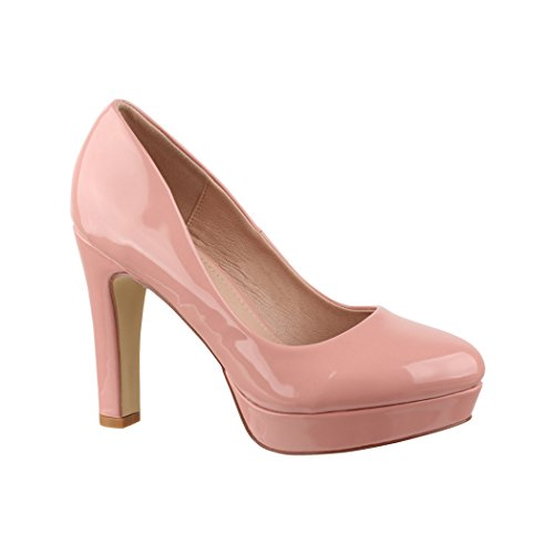 Elara Plateau Pumps | Bequeme Damen High Heels | Abend Schuhe Lackoptik | Chunkyrayan Pink