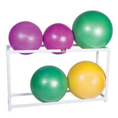 CanDo 30-1833 Inflatable Exercise Ball, Accessory, PVC Stationary Floor Rack, 2 Shelf, 62'' x 20'' x 42''