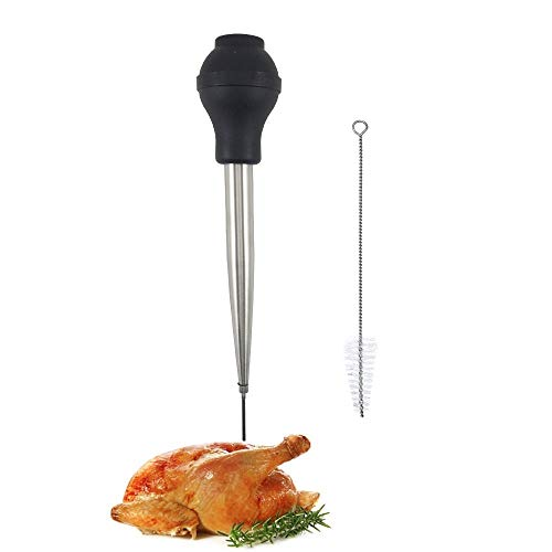 Stainless Steel Turkey Baster Food Grade High Temperature Resistant Silicone Oil Injector Marinades Ball Syringe Needle And Brush Easy To Clean