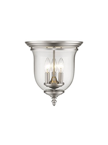 Legacy Ceiling Flush - Livex Lighting 5021-91 Legacy 3 Light Brushed Nickel Flush Mount with Clear Glass
