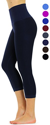 - Prolific Health High Compression Women Pants Yoga Fitness Leggings (Small/Medium, Navy Blue Capri)
