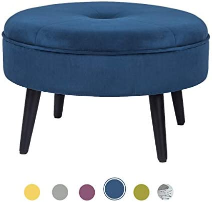 Joveco Fabric Round Ottoman Foot Rest Stool Navy Blue