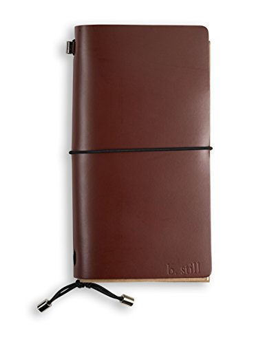 (Leather Bound Journal - Refillable Spiral Notebook 5 x 8 inch Travel Diary for Men Women, b.still )