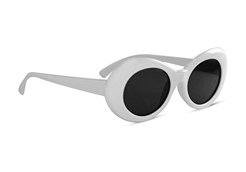 Clout Goggles Oval Sunglasses Mod Style Retro Thick Frame Fashion Kurt Cobain (White)