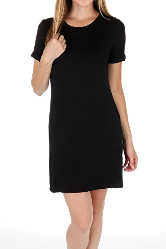TODAY SHOWROOM Round Neck Casual T Shirt Dress (Large, Black)